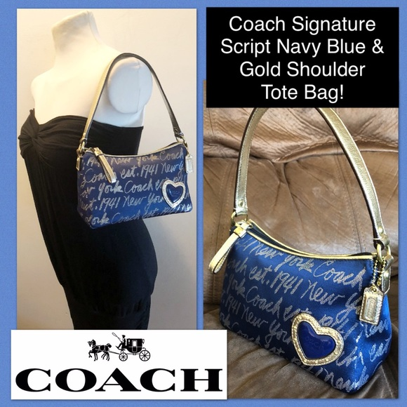 7b6878e820 Coach Bags | Signature Script Blue Gold Tote Shoulder Bag | Poshmark